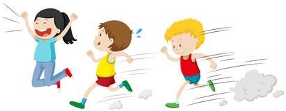 Δύο αγόρια που τρέχουν σε μια φυλή ελεύθερη απεικόνιση δικαιώματος