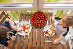 Δύο αγόρια τρώνε τις βάφλες με τις φράουλες και το παγωτό Στοκ Φωτογραφία