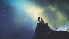 Δύο αδελφοί που εξετάζουν τα αστέρια διανυσματική απεικόνιση
