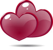 Δύο λαμπρές κόκκινες καρδιές εικονιδίων Στοκ Εικόνα