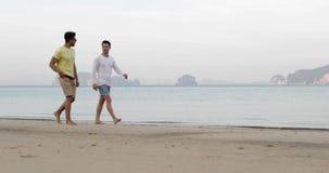 Δύο ανθρώπων περπάτημα κατά μήκος της παραλίας που μιλά, ομοφυλοφιλικοί τουρίστες επικοινωνίας ζεύγους στη θάλασσα απόθεμα βίντεο