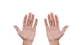 Δύο ανθρώπων χέρια η ανασκόπηση απομόνωσε το λευκό Στοκ φωτογραφίες με δικαίωμα ελεύθερης χρήσης
