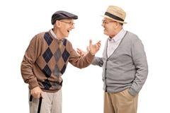 Δύο ανώτερα άτομα που μιλούν ο ένας στον άλλο και που γελούν στοκ φωτογραφία με δικαίωμα ελεύθερης χρήσης
