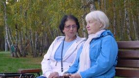 Δύο ανώτερες γυναίκες που κάθονται στον πάγκο μαζί στο πάρκο φιλμ μικρού μήκους