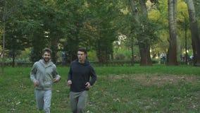 Δύο αρσενικοί φίλοι που στο πάρκο νωρίς το πρωί, ασκήσεις ικανότητας, τρόπος ζωής απόθεμα βίντεο