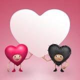 Δύο αστεία κινούμενα σχέδια καρδιών βαλεντίνων που κρατούν το έμβλημα Στοκ Εικόνα