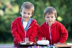 Δύο λατρευτά αγόρια με τα κέικ, υπαίθρια, γενέθλια εορτασμού Στοκ φωτογραφίες με δικαίωμα ελεύθερης χρήσης
