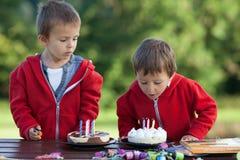 Δύο λατρευτά αγόρια με τα κέικ, υπαίθρια, γενέθλια εορτασμού Στοκ φωτογραφία με δικαίωμα ελεύθερης χρήσης