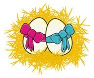 Δύο αυγά με την κορδέλλα διανυσματική απεικόνιση
