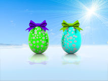 Δύο αυγά Πάσχας με τα τόξα δώρων τρισδιάστατα δίνουν Στοκ Εικόνες