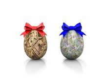 Δύο αυγά Πάσχας με τα τόξα δώρων τρισδιάστατα δίνουν Στοκ Φωτογραφίες