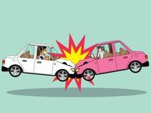Δύο αυτοκίνητα μπροστινά συγκρούονται χτύπημα ελεύθερη απεικόνιση δικαιώματος