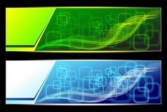 Δύο αφηρημένα υπόβαθρα εμβλημάτων στον πράσινο μπλε συνταγματάρχη Στοκ εικόνα με δικαίωμα ελεύθερης χρήσης