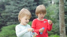 Δύο αδελφές φυσούν τις φυσαλίδες στο πάρκο, αργό απόθεμα βίντεο