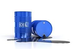 Δύο βαρέλια πετρελαίου και χυμένο πετρέλαιο στοκ φωτογραφία με δικαίωμα ελεύθερης χρήσης