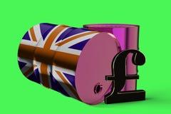 Δύο βιομηχανικά βαρέλια πετρελαίου μετάλλων με το σημάδι λιβρών και τη βρετανική τρισδιάστατη απόδοση σημαιών ελεύθερη απεικόνιση δικαιώματος