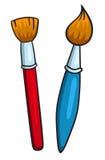 Δύο βούρτσες κινούμενων σχεδίων Στοκ Εικόνα