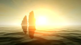 Δύο βράχοι θάλασσας στο ηλιοβασίλεμα σε τρισδιάστατο - η νέα φυσική άποψη ποιοτικής φύσης δροσίζει τις βιντεοσκοπημένες εικόνες ελεύθερη απεικόνιση δικαιώματος