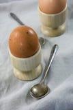 Δύο βρασμένα καφετιά αυγά στα φλυτζάνια αυγών με τα κουτάλια Στοκ Φωτογραφίες