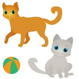 Δύο γάτες και μια σφαίρα Στοκ φωτογραφία με δικαίωμα ελεύθερης χρήσης