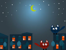 Δύο γάτες τη νύχτα Στοκ Εικόνα