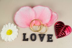 Δύο γαμήλια δαχτυλίδια στο χρυσό, τα πέταλα, την καρδιά, το λουλούδι και την αγάπη Στοκ Εικόνα