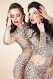 Δύο γοητευτικές γυναίκες στα φορέματα βραδιού και το χορό κοσμήματος Στοκ Εικόνα