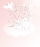 Δύο γοητευτικοί άσπροι άγγελοι με το περιστέρι Στοκ Εικόνα