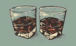 Δύο γυαλιά με το ρούμι απεικόνιση αποθεμάτων