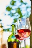 Δύο γυαλιά που γεμίζουν με το κόκκινο κρασί και το μπουκάλι στο υπόβαθρο Στοκ Φωτογραφία