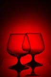 Δύο γυαλιά στο κόκκινο φως Στοκ φωτογραφίες με δικαίωμα ελεύθερης χρήσης