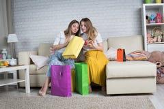 Δύο γυναίκες αποσυναρμολογούν τις συσκευασίες με τις αγορές στοκ εικόνα