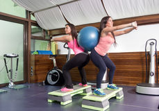 Δύο γυναίκες ασκούν τις πλάτες σφαιρών σταθερότητας Στοκ Φωτογραφία