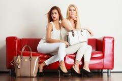 Δύο γυναίκες που κάθονται στον καναπέ που παρουσιάζει τις τσάντες στοκ εικόνα