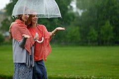 Δύο γυναίκες που περπατούν το πάρκο στη βροχή και τη συζήτηση Φιλία και επικοινωνία ανθρώπων Στοκ Εικόνα