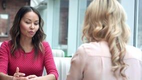 Δύο γυναίκες σε μια συνεδρίαση σε έναν καφέ απόθεμα βίντεο