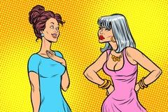 Δύο γυναίκες, σκληρός και ήρεμος διανυσματική απεικόνιση
