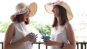 Δύο γυναίκες στα μεγάλα θερινά καπέλα στην ομιλία μπαλκονιών απόθεμα βίντεο