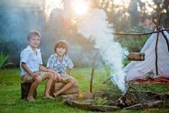 Δύο γλυκά παιδιά, αδελφοί αγοριών, που στρατοπεδεύουν έξω από το καλοκαίρι επάνω στοκ εικόνα