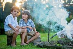 Δύο γλυκά παιδιά, αδελφοί αγοριών, που στρατοπεδεύουν έξω από το καλοκαίρι επάνω Στοκ Εικόνες