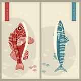 Δύο διανυσματικές κάρτες με συρμένες το χέρι σκουμπρί και την πέρκα ψαριών σχέδιο για την επιχείρηση, τυπωμένη ύλη, κάρτα, βιομηχ απεικόνιση αποθεμάτων