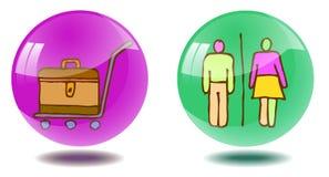 Δύο διαφανή λαμπρά κουμπιά με τις hand-drawn εικόνες ελεύθερη απεικόνιση δικαιώματος