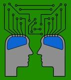 Δύο εγκέφαλοι ως τσιπ Στοκ Φωτογραφίες