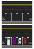 Δύο εικόνες Χρωματισμένα σταθμευμένα αυτοκίνητα, δρόμος, τοπ άποψη ελεύθερες θέσεις, θέσεις για τα με ειδικές ανάγκες άτομα απεικ Στοκ Φωτογραφίες