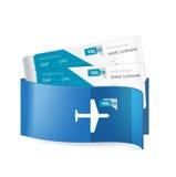 Δύο εισιτήρια αεροπλάνων σε εταιρικό τυλίγουν απομονωμένος στο λευκό Στοκ Φωτογραφίες