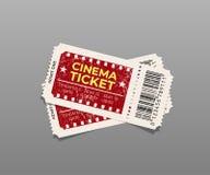 Δύο εκλεκτής ποιότητας εισιτήρια κινηματογράφων που απομονώνονται σε γκρίζο το σχέδιο εύκολο επιμελείται το στοιχείο στο διάνυσμα Στοκ εικόνες με δικαίωμα ελεύθερης χρήσης