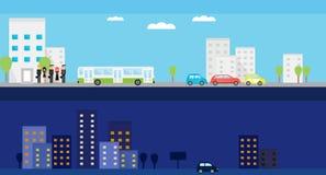 Δύο εμβλήματα με μέρα και νύχτα τη ζωή πόλεων Διανυσματική επίπεδη απεικόνιση με τους ανθρώπους, το λεωφορείο, τα αυτοκίνητα και  Στοκ εικόνα με δικαίωμα ελεύθερης χρήσης