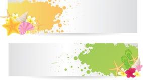 Δύο εμβλήματα με τα θερινά στοιχεία απεικόνιση αποθεμάτων
