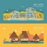 Δύο εμβλήματα με το κτήριο ξενοδοχείων Στοκ Εικόνες