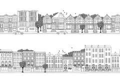 Δύο εμβλήματα πόλεων με τα βικτοριανά σπίτια ύφους Στοκ Εικόνες